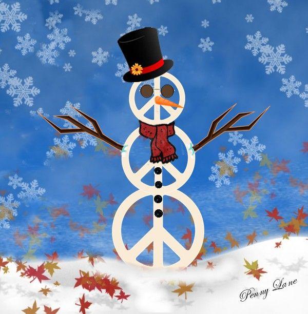 ☮ American Hippie Art ~ Holiday .. Peaceful Snowman