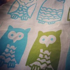 Kristen Doran Little Owls Panel Blue & Green Little Owls  fabric sold by the unit as a craft panel Let you imagination lead the way Little o...
