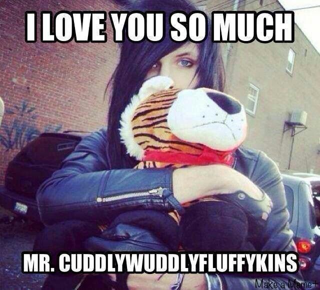 Mr. Cuddlywuddlyfluffykins. Best name for a stuffed animal ever. Look at how he holds him! I wanna give him a hug!