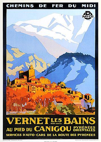 Affiche de Vernet les bains, au pied du Canigou, 1930