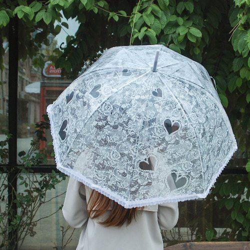 Umbrella Lace Effect Transparent Bubble Romantic Flower And Heart Wedding Party