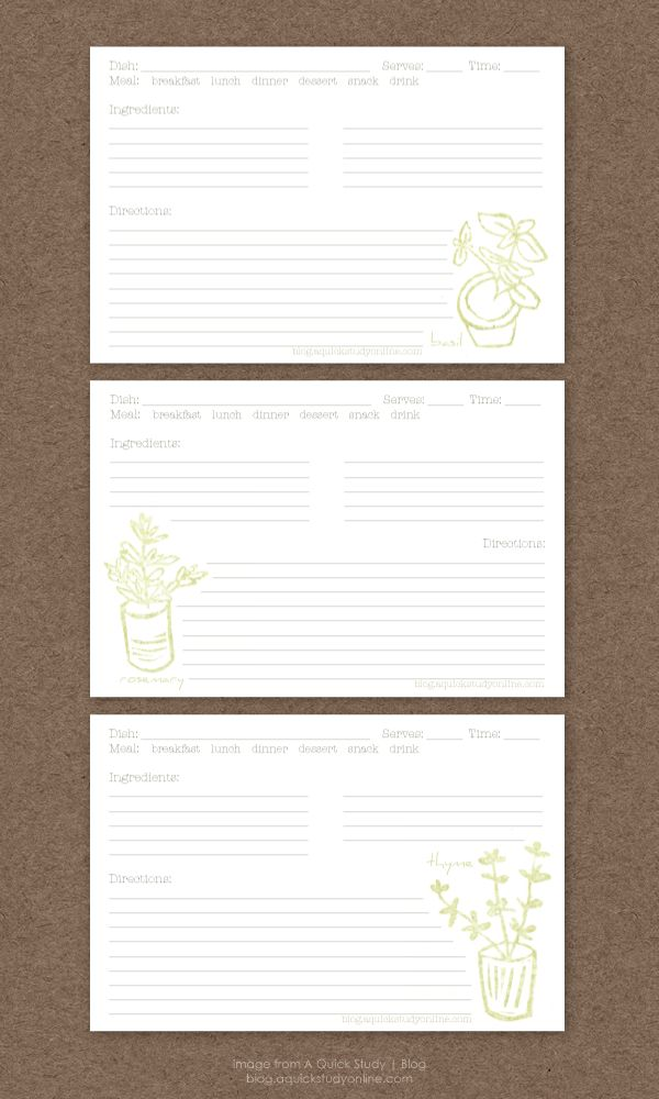 Free herb recipe cards printable.... printed these off tonight