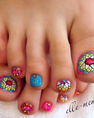 Más de 40 fotos de uñas decoradas para Pies –  Foot nails