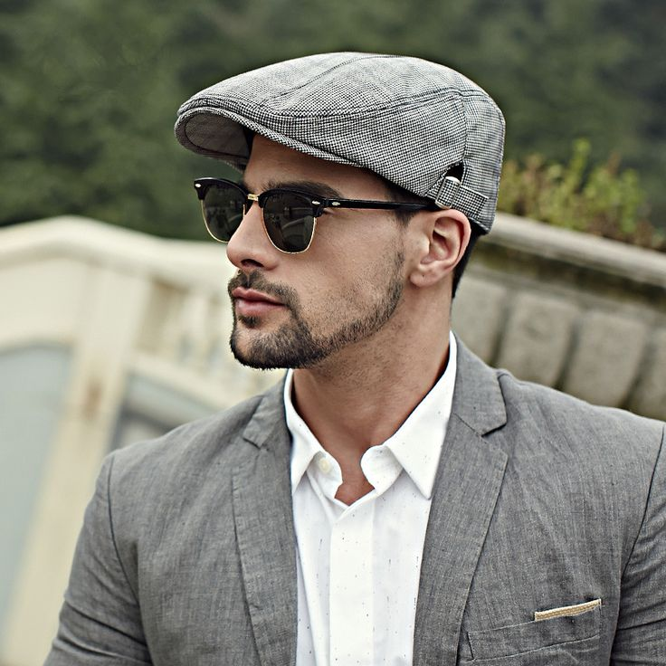 Houndstooth flat cap for men British style