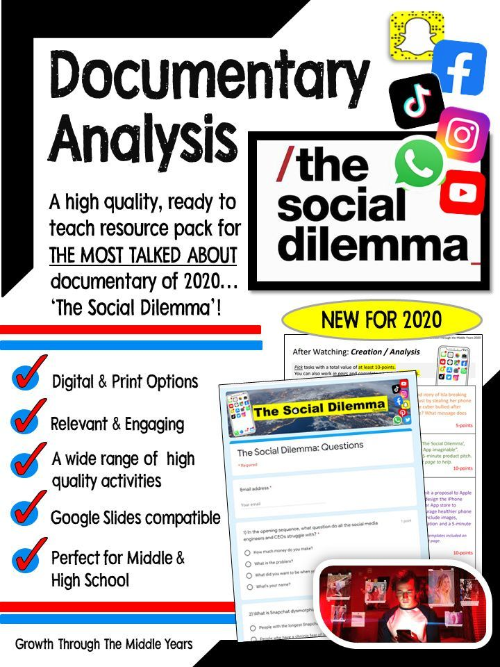 The Social Dilemma Documentary Study Student Encouragement Middle School Writing Middle School Reading