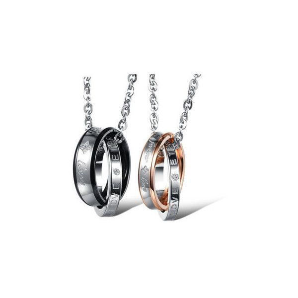 Titanium Steel Zircon Couple Necklace ($8.26) ❤ liked on Polyvore featuring jewelry, necklaces, white, white jewelry, titanium jewelry, zircon jewelry, steel chain necklace and titanium necklace
