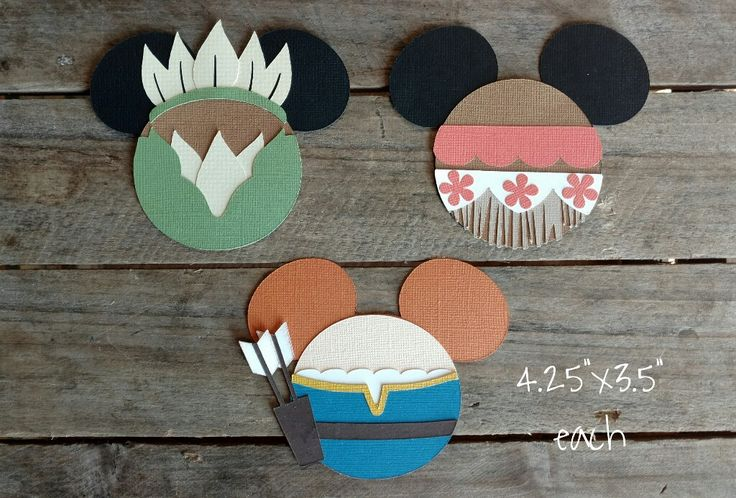 Disney Princess Themed Scrapbooking Embellishments or Window Decorations: Tiana, Moana & Merida Mickey Heads by ScrapWithMeToo on Etsy