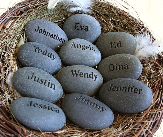 """Grandmothers nest personalized gift. Turn your family gathering into an unforgettable event with this neo classic gift. This listing is for a set of 10 or more stones in a nest engraved with your custom names. Bird nest evokes our attachment to home and family. Stone """"Egg"""" in bird nest is a cuddly representation of that long lasting bond with family. This is a very meaningful gift for many special occasions…"""