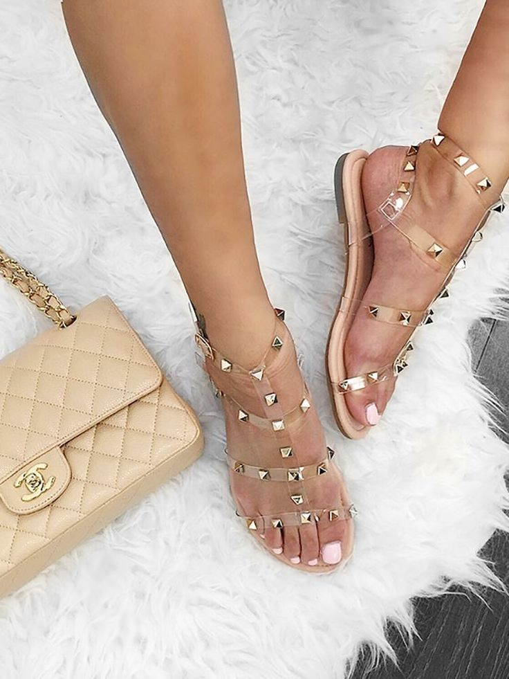Nude pin em over studded flat mules