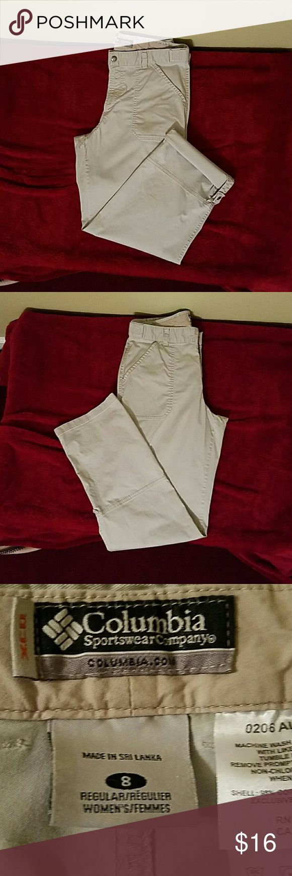 Columbia Sportswear tan pants Columbia Sportswear tan pants in good condition.  Length is 40 from waist to hem.  When rolled up 34 inches from waist to end of rolled up hem. Inseam is 30 inches when not rolled up and 25 inches when rolled up. Columbia Pants