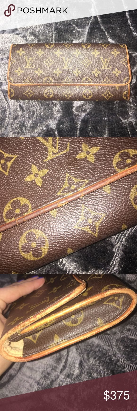 Vintage Louis Vuitton Clutch vintage Louis Vuitton clutch. wear and tear around the edges and inside (see in pictures). has one pocket. can attach straps inside but straps not included. perfect for everyday use!!! willing to bargain. no trades Louis Vuitton Bags Clutches & Wristlets