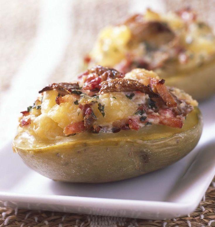 Photo de la recette : Pommes de terre farcies aux lardons et champignons