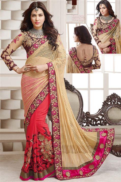 Golden, Red Net, Georgette Designer party wear saree