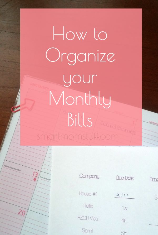 Monthly Bills Filing System