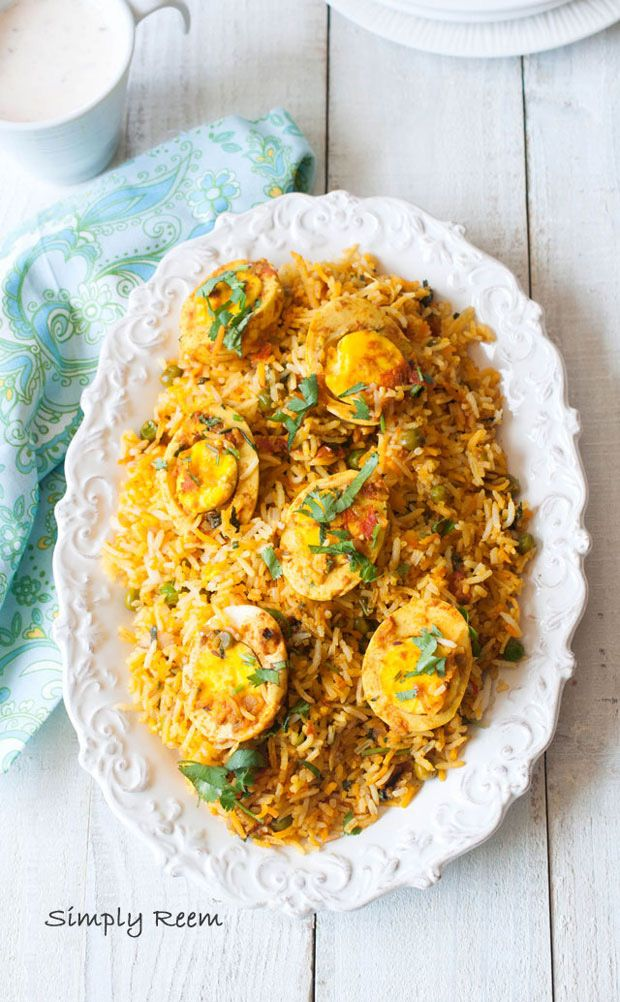 Egg Biryani – Indian style  Use 1 cup of rice and use ginger powder for garnish