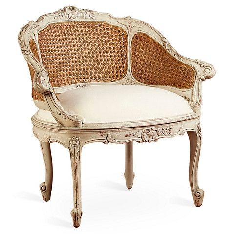 Wicker Back Slipper Chair Linen Seat 435 00 Sit A