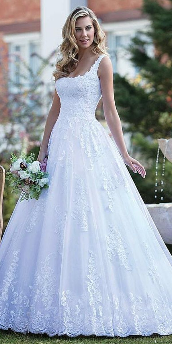 4f55bbdfa24 Attractive Tulle Square Neckline A-line Wedding Dress With Beadings   Lace  Appliques