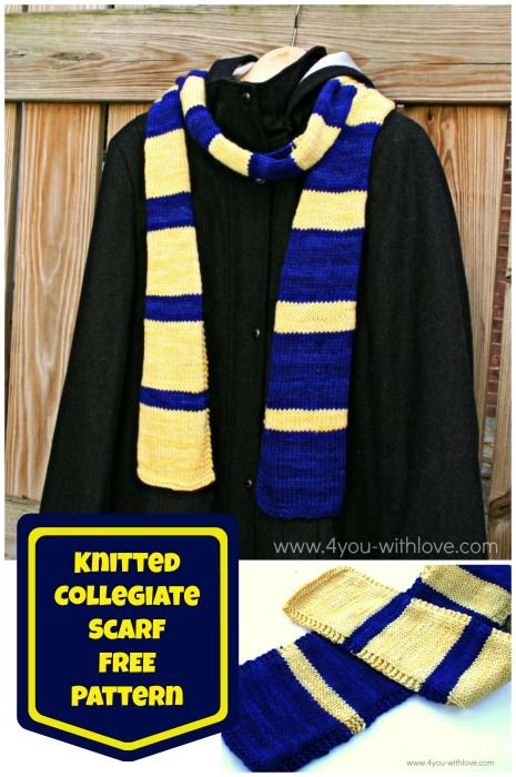 knitted collegiate scarf collage free pattern.  #scarfweek2015 #knittedscarfpattern #freeknittingpatterns