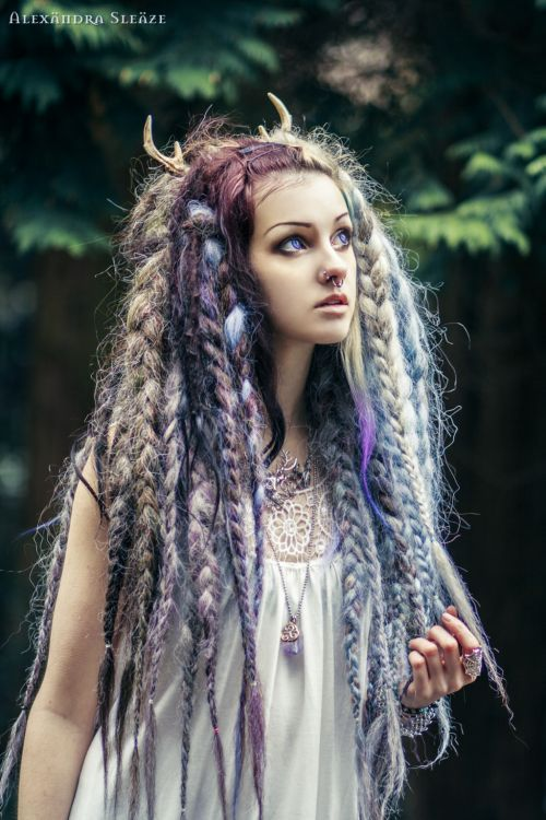 Woodland fae braid hairstyle with horn accessory | via Psychara on Deviant Art