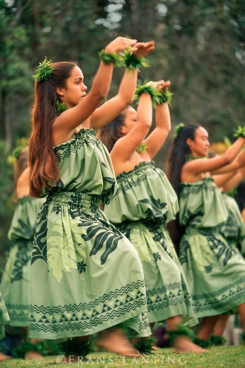 Hawaiian women performing hula dance during tribute to Pele, Hawaii Volcanoes National Park, Hawaii