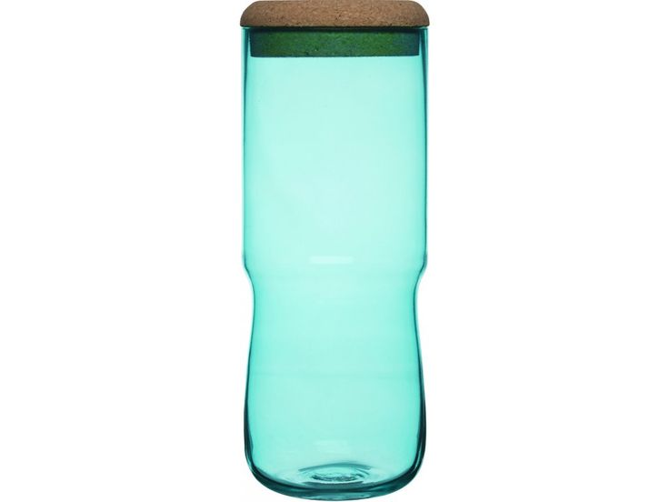 Váza / dóza SAGAFORM Sea Aqua, vysoká | zelená. Skleněná váza nebo skleněná dóza s korkovým víčkem
