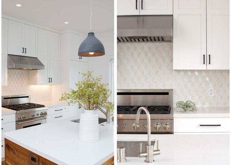 San Francisco Interior Design company Regan Baker Design - Glen Park Spanish Modern Kitchen, Concrete Pendants, White Kitchen Geometric Backsplash, Midcentury Modern