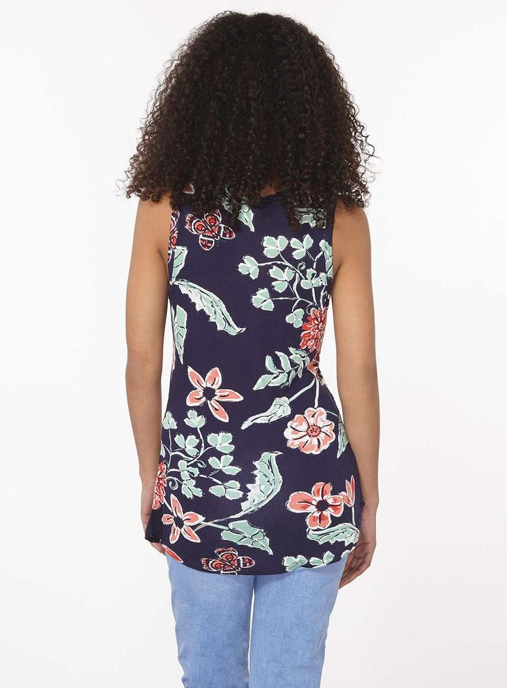 Womens Navy Floral Vest- Blue