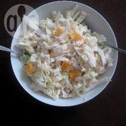 Chinese koolsalade met appel, mandarijn en een citroen-yoghurt dressing