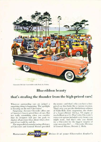1955 Chevrolet Bel Air Convertible. Blue ribbon beauty that's stealing the thunder from high priced cars!