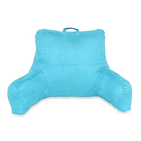 buy teal fauxsuede backrest with side pocket and handle from at bed bath u0026 beyond this comfy and convenient fauxsuede backrest is perfect to relax with