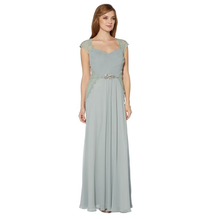 Debut Pale green ruched and lace bodice maxi dress- at Debenhams.com