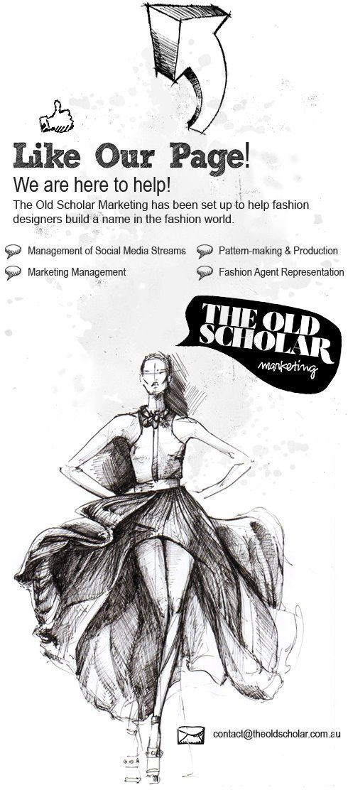 Facebook Pre Like Page design for The Old Scholar Marketing.  Date: November 2011    Designed & Coded by GlamoDesign. Fashion sketch image provided by client. This page includes one link for email enquiries.    Check them out at www.facebook.com/theoldscholarmarketingfashiondivision — at www.GlamoDesign.com.au.  Tags: GlamoDesign