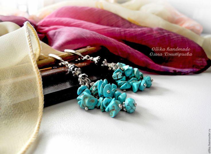 Купить Серьги Бирюзовые, серьги с подвесками украшение с бирюзой - длинные серьги, серьги с камнями