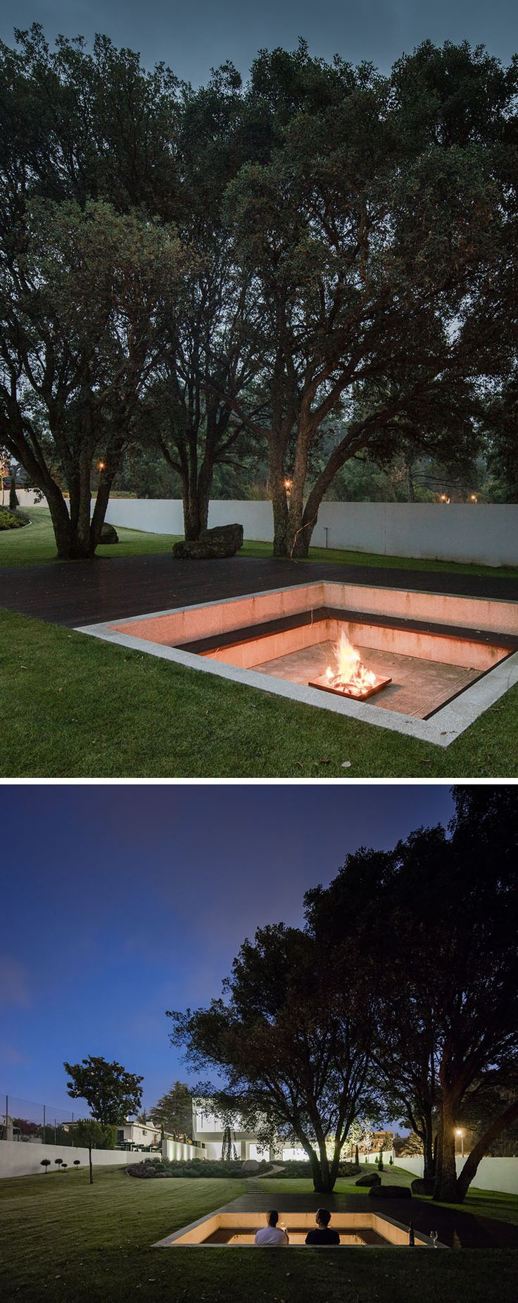 Great use of space! Sunken down into the grassy landscaped yard of this modern house, is a square lounging pit with built-in seating that wraps around the fire and allows people to lean against the wall. From the lounge, you are able to have a view of the house, and at night it's lit up, highlighting the design of the house. #FirePit #Landscaping #Backyard #OutdoorLounge #SunkenFirePit