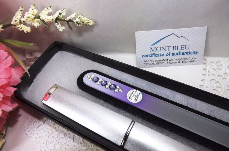 "$14.99 FREE SIPPING - Mont Bleu Czech Glass Nail File #52 Swarovski Elements Case Gift Box Guaranteed by eBay seller ShoppingSpree4Me. =========================  FIND US ON LINE:   1) Go to eBay.com 2) Next to the blue search button click on the word ""Advance""  3) On the Item Menu (left side) click on ""Find Store""  4) Enter the Store Name ""ShoppingSpree4Me""  5) Click search  6) This will bring up our current items listed on eBay."