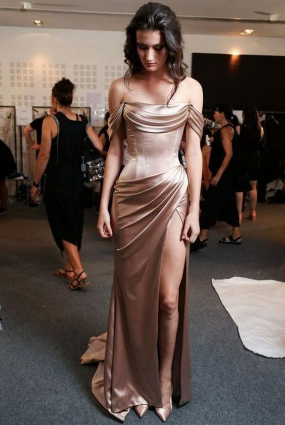 Off The Shoulder Prom Dress,Split Prom Dress,Fashion Prom