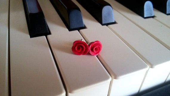 tiny red pink rose polymer clay stud earrings