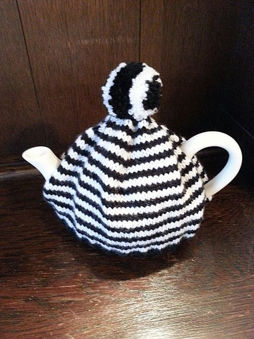 Just completed this black and white stripe tea cosy complete with stripy pom-pom!