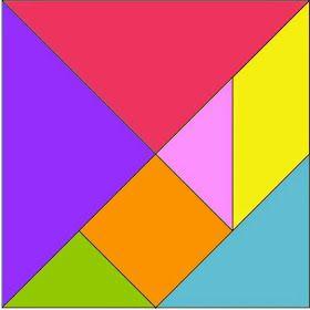 Tangramé umquebra-cabeçachinês formado por 7 peças(5 triângulos, 1quadradoe 1paralelogramo)Com essas peças podemos formar ...