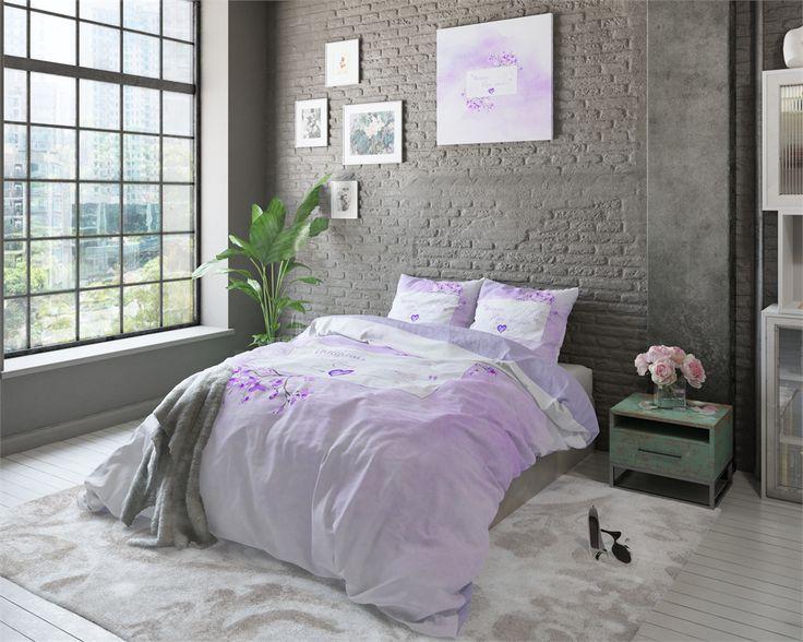 Romantyczna pościel fioletowa w rozmiarze 200x220  Bonjour Purple