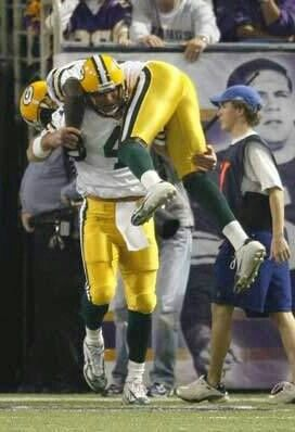 This picture is great. It really makes me miss the crazy days of Brett Favre. Brett Favre and Donald Driver