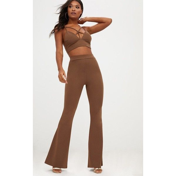 Chocolate Brown Front Seam Flared Suit Trousers (£18) ❤ liked on Polyvore featuring pants, brown, slacks pants, suit trousers, flare trousers, chocolate brown dress pants and dress pants