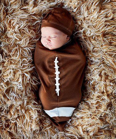 Look at this #zulilyfind! Brown Football Cocoon Swaddle & Hat - Infant #zulilyfinds