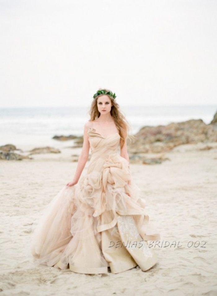 Пляжные Свадебные Платья Без Бретелек Тюль Шампань Свадебные Платья