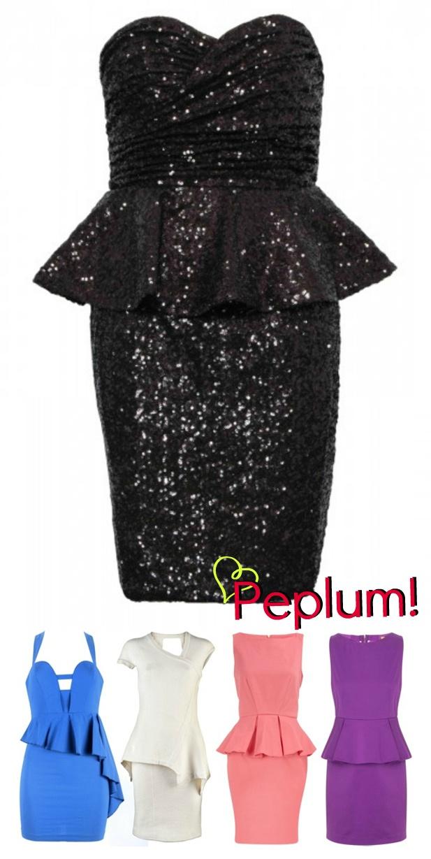 Vestido peplum + paetes
