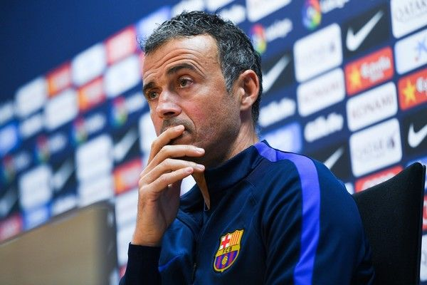 Head coach Luis Enrique of FC Barcelona faces the media during a press conference ahead of their La Liga match between FC Barcelona and Real Madrid on December 2, 2016 in Barcelona, Catalonia.