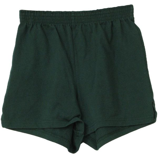 Vintage 1980's Shorts: 80s -Soffe- Unisex dark green polyester cotton jersey, elastic waist sport shorts with side slits