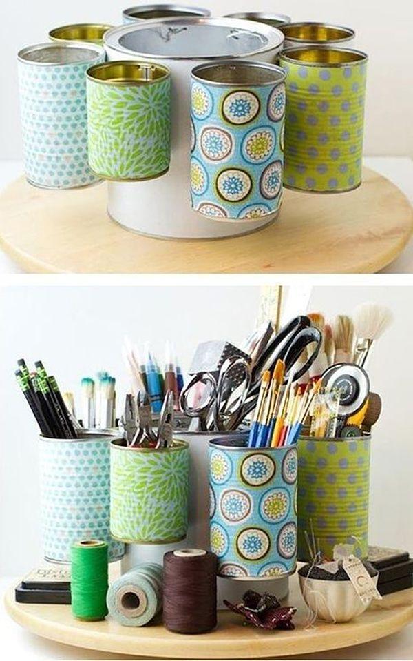 DIYs con papel: Ideas para organizar tu hogar. Latas forradas con papel