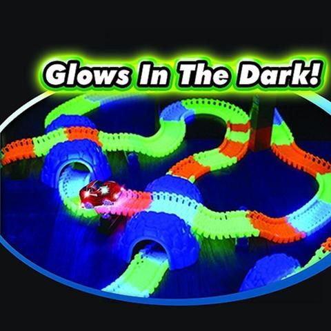 Kids Have Never Had So Much Fun! These amazing new track pieces are completely bendable and also glow in the dark keeping your kids playing for hours on end. T