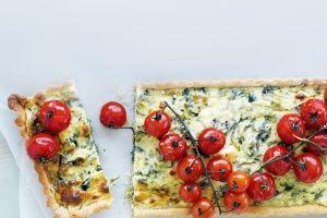 Spanakopita tarts with roasted cherry tomatoes